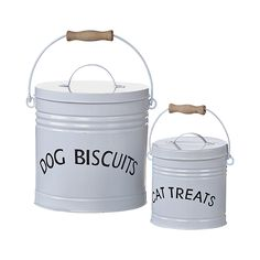 These quaint farmhouse-style buckets don't just add some country charm to your home;  they also help you remember where you've stashed the pet treats—as if your dog and cat aren't already skilled at re...  Find the Country Pet Tins - Set of 2, as seen in the The Pet Boutique Collection at http://dotandbo.com/collections/holiday-boutiques-the-pet-boutique?utm_source=pinterest&utm_medium=organic&db_sku=113242