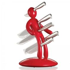 Funky Kitchen Accessories Contemporary And Modern The Ex 5 Piece Knife Set With Unique Red Holder Designed