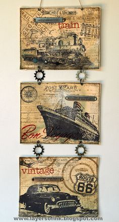 Embrace the Old: wall hanging featuring Tim Holtz stamps & techniques.  -Layers of ink blog