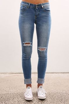 Uneven Ripped Knee Denim Blue