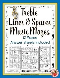 music games  |  music theory  |  music worksheets  |  Music lessons  |  Treble Lines and Spaces Music Mazes