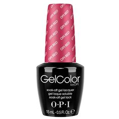 OPI Gel Color OPI Red L72. OPI Color in a polish-on gel formula! GelColor by OPI's shine-intense shades cure in 30 seconds and last for weeks. From its distinctive bottle and custom brush, to its unbeatably fast application and lightening speed cure.. GelColor by OPI redefines salon gel services with durable, glossy OPI color! GelColor by OPI delivers faster services than previous Gel generations! Cures in 4 minutes per set vs. 12+ min. for standard UV cure.