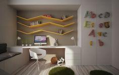 Chambre d'ado avec un espace de travail original