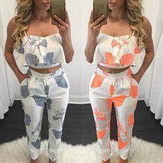 Fashion Women Flounced Print Cropped Twinset