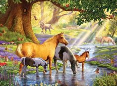 Horses by the Stream F1 - art, horse, artwork, wide screen, equine, birds, stream, painting, beautiful, animal, wildlife