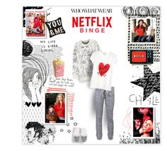 """""""Netflix Binge"""" by jenhoney ❤ liked on Polyvore featuring Balmain, Brush Strokes, Once Upon a Time, OBEY Clothing, Shabby Chic, STELLA McCARTNEY, Sonia by Sonia Rykiel, Victoria's Secret, women's clothing and women's fashion"""