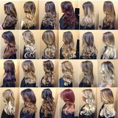 The many colors of ombre Balayage Hair Blonde, Ombre Hair, Haircolor, Short Hair With Layers, Long Hair Cuts, Brown Hair With Highlights, Brown Hair Colors, Pretty Hair Color, Hair Color Techniques