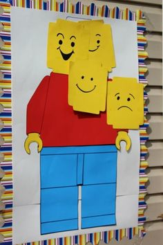 Pin the Lego Game. Pin the Head on the Lego Man Draw a Lego figure on a piece of poster board, leaving the head blank.  Make additional heads on yellow cardstock like this game from The Photographer's Wife.