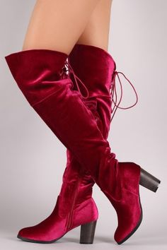 Crushed Velvet Back Lace-Up Chunky Heeled Over-The-Knee Boots