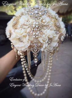 Gatsby Gold Brooch Wedding Bouquet Gold and Ivory Wedding