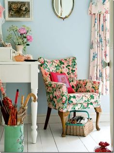 Lovely Floral Chair In A Vintage Style Room. The Color On The Walls Is What  I Have In My Bedroom. I Like This Room.