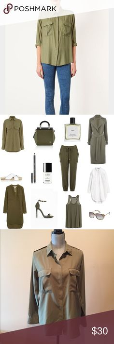 Topshop khaki top Comfy trendy loose fitted top. Front functioning pockets buttoned cuffs. 53% viscose 47% polyester Topshop Tops Button Down Shirts