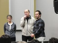 Researcher France Rivet, producer Roch Brunette, and film director Guilhem Rondot during the question/answer period.