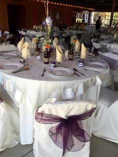 Ivory Table Cloth, Ivory Lace Overlay, Plum Chair Bow