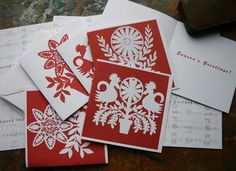 Scandinavian Style Christmas Cards  - Pack of 10. $12.00, via Etsy.