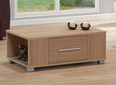 Small Oak Coffee Table Drawer End Living Room Furniture Home Office Storage New