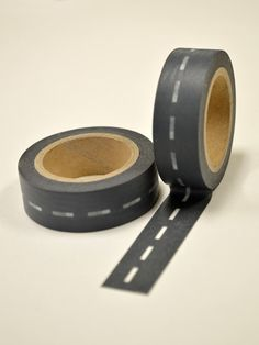 Washi Tape - 15mm - Charcoal Off Road Offset Stitching - Deco Paper Tape No. 270 on Etsy, $3.30