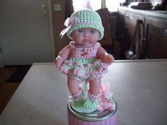 """Berenguer 5"""" Baby Dolls - Soft pink and green outfit #29  More can be seen on Pinterest under Jana Langley Berenguer 5"""" Dolls with crocheted outfits"""