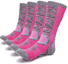 Gosuban 2 Pairs Antiskid Wicking Outdoor Multi Performance Hiking Cushion Socks for Men and Women Assort Colors2 Pack Pink *** Amazon most trusted e-retailer  #MountaineeringBoots