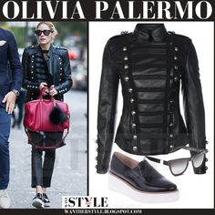 Olivia Palermo in black leather jacket with red bag and black patent platform loafers