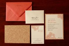 Obviously LOVING the coral and gold combo. Looks like cream/blush pink paper too- just stunning together!