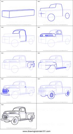 How to Draw Vintage Truck step by step printable drawing sheet to print. Learn How to Draw Vintage Truck Simple Car Drawing, Drawing For Kids, Drawing Lessons, Drawing Tips, Drawing Tutorials, Car Drawing Pencil, Car Design Sketch, Car Sketch, Drawing Sheet