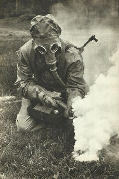 Soldier of the Czechoslovak People's Army on chemical warfare gear.