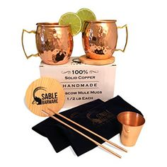Moscow Mule Mugs Gift Set – 1/2 lb Each Solid Unlined Copper + Straws, Coasters & Shot By Sable Barware – 2 – 16oz Handmade Hammered Engraved Cocktail Drinking Mugs Review