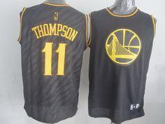 Golden State Warriors  11 Klay Thompson Revolution 30 Swingman 2014 Black  With Gold Jersey Nba 8651ee36e