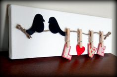 Clothes Pinned Love on a Wire 3D Canvas Wall by TwoCraftyBirdies, $12.00