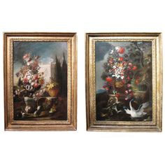 """A marvelous pair of oil on canas paintings in the manner of Nicola Casissa (d.1731). CIRCA: Early 18th Century DIMENSIONS: 36"""" h x 26"""" w"""