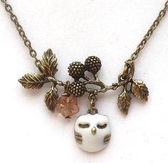 Antiqued Brass Branch Czech Glass Flower  Owl by gemandmetal, $14.99