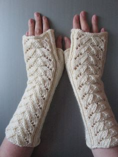 White Fingerless Gloves Mittens Long Arm Warmers for Wedding Knit and Soft Acrylic, Wool