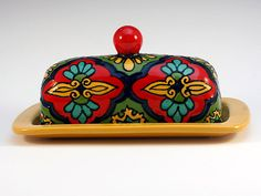Red Yellow Green & Teal Talavera Style Butter Dish by TheTikiQueen -=- Gorgeous, We Really ♥ ℒℴvℯ This Perfect Butter Storage !!