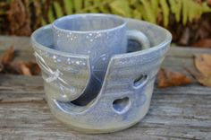 READY To SHIP Large Hand Thrown Yarn Bowl with Hand Glazed Mug and Free Book by TheFathersMarket on Etsy