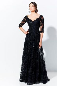 Montage by Mon Cheri - 219976 Embroidered Lace Illusion Bateau Dress – Couture Candy Dress Couture, Evening Gowns Couture, Evening Dresses, Formal Dresses, Bride Dresses, A Line Gown, Mon Cheri, Chiffon Gown, Queen
