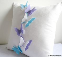 Sewing Pillows The Butterfly Effect White Pillow Cover Dreamy WonderlandFlyWings Sewing Pillows, Diy Pillows, How To Make Pillows, White Pillows, Custom Pillows, Cushions, Throw Pillows, Felt Crafts, Fabric Crafts