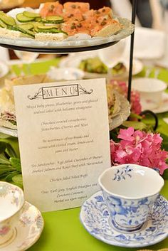 Click on pic for menu ideas...tea party menu, yes we need to have menus at each place setting that can be souvenirs