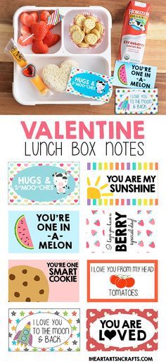Free Printable Valentine Lunch Box Notes – I Heart Arts n Crafts Kostenlose druckbare Valentine Lunch Box Notizen Horizon Organic Lunch Box Bento, Lunch Snacks, Kids Lunch For School, School Snacks, Printable Images, Free Printable, Lunch Box Notes, Kids Lunch Notes, Toddler Lunches