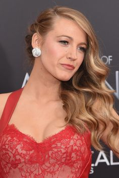 Blake lively side swept waves