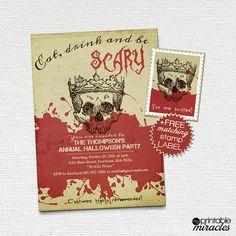 Printable halloween invitation Eat drink & by MyPrintableMiracles