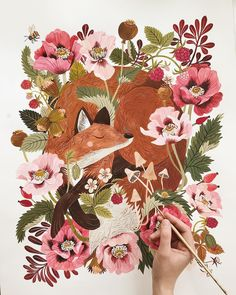 """10.9k Likes, 182 Comments - Oana Befort (@oanabefort) on Instagram: """"Look who was hiding in there!  FOX & FLORA - watercolors and gouache on 18x24"""" Arches hot…"""""""