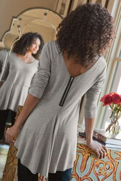 Back Zip Top - Exposed Zipper Top, Tops , Clothing | Soft Surroundings