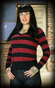 Rumble59 Ladies - V-Neck Pullover - Cherry Bomb #rumble59 #rockabillyrules