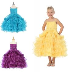 Mother Of The Groom Dresses Custom Made 2015 Lovely Ball Gowns Flower Girls Dresses Sleeveless Beads Tiered Tea Length Spaghetti Pageant Gowns For Weddings Semi Formal Dresses From Rieshaneeawedding, $100.53| Dhgate.Com