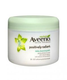 Aveeno Positively Radiant Daily Cleansing Pads: Loaded with skin brightening soy extract, these double-sided pads are smooth on one side for wiping off dirt and makeup, and textured on the other to slough off dead skin cells.