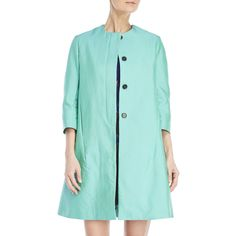 Marni Mint Green A-Line Coat (26.320 RUB) ❤ liked on Polyvore featuring outerwear, coats, green, green coat, blue coat, mint coat, a-line coat and marni coat