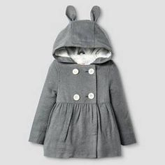 Toddler Girls' Peacoat with Bunny Ears Cat & Jack™ - Grey : Target