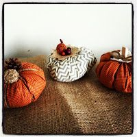 Orange and Chevron Fabric Pumpkins.