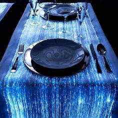 Fiber optic table runner in celestial Tardis blue. #doctorwho #wedding